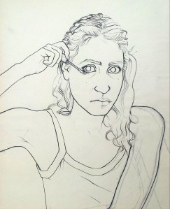 Black line self-portrait applying makeup